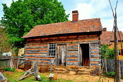 Old Salem, NC:  Log Cabin at 1771 Miksch House Royalty Free Stock Photography