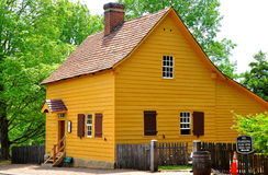 Old Salem, NC:  Log Cabin at 1771 Miksch House Stock Images