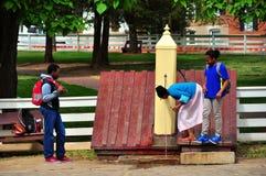 Old Salem, NC: Students at Water Pump Stock Photo