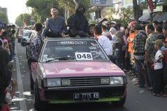 Old saloon car parade in Sukoharjo Stock Image