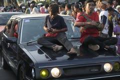 Old saloon car parade in Sukoharjo Stock Photo
