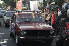 Old saloon car parade in Sukoharjo Royalty Free Stock Image