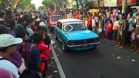Old saloon car parade in Sukoharjo Royalty Free Stock Photo
