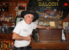 USA/Old West: Old Saloon - Guarding the Cash  Royalty Free Stock Images