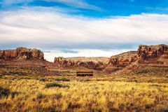 Old saloon in a typical southwestern landscape Stock Images
