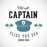 Old Salt Captain Vintage Marine Vector Logo Stock Image