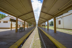 Old Salta train Station with cloudy blue sky, Argentina Stock Image