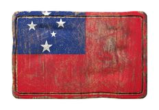 Old Samoa flag. 3d rendering of a Samoa flag over a rusty metallic plate. Isolated on white background Stock Photo