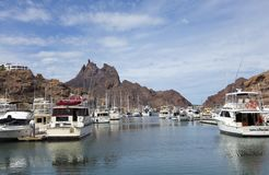 An Old San Carlos Marina Shot, Guaymas, Sonora, Mexico. SAN CARLOS, MEXICO, MARCH 13. The Old San Carlos Marina on March 13, 2018, in Guaymas, Sonora, Mexico royalty free stock photography