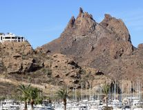 An Old San Carlos Marina Shot, Guaymas, Sonora, Mexico. SAN CARLOS, MEXICO, MARCH 13. The Old San Carlos Marina on March 13, 2018, in Guaymas, Sonora, Mexico stock photos