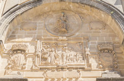 Old San Francisco Convent facade details, actually auditorium, B. Aeza, Spain Royalty Free Stock Images