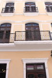 Old San Juan Architecture. Beautiful and typical Colonial architecture in Old San Juan Puerto Rico. Note the solid wood doors and stain glass windows royalty free stock photos