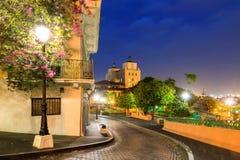 Old San Juan. Beautiful summer cityscape of old San Juan, Puerto Rico, at the blue hour at night royalty free stock photo