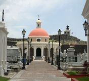 Old San Juan cemetary. Chapel and cemetary in Old San Juan, Puerto Rico stock photo