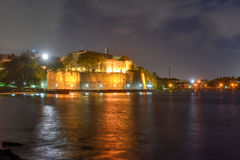 Old San Juan City Walls. At night in Puerto Rico royalty free stock photo