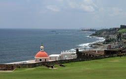 Old San Juan Coastline. Coastline and fortress wall in Old San Juan, Puerto Rico royalty free stock photos