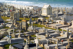 Old San Juan graveyard with chapel. By the sea horizontal Stock Image