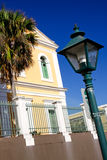 Old San Juan - Historic Colonial Architecture. An offset angle provides a beautiful view of Old San Juan residential architecture and street light near the El royalty free stock image