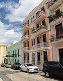 Old San Juan Homes. Colorful homes and apartments showing original brickwork in Old San Juan, Puerto Rico royalty free stock images