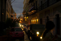 Old San Juan at night. Busy streets at old San Juan, Puerto Rico royalty free stock images