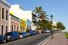 Old San Juan - Orange, Yellow Blue Colors!. A shot of some of the many vibrant colorful homes and businesses splashed in brilliant colors  found throughout Old Royalty Free Stock Image