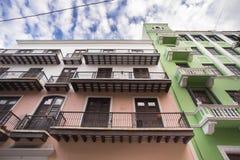 Old San Juan PR Buildings. View of colorful building exteriors seen from Old San Juan, Puerto Rico royalty free stock photos
