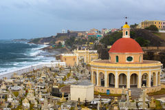 Old San Juan Puerto Rico Cemetery with Tropical Ocean View Royalty Free Stock Photo