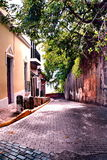 Old San Juan, Puerto Rico. Downtown cobblestone and brick lined streets in Old San Juan, Puerto Rico Stock Photo