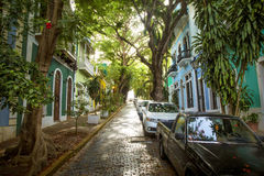Old San Juan in Puerto Rico. Panorama of Old San Juan street, Puerto Rico Royalty Free Stock Photo