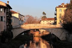 San Michele bridge seen from San Paolo bridge in Vicenza, Italy royalty free stock photo