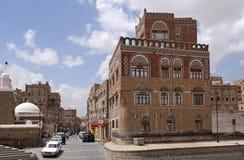 Old Sanaa. Street scene the capital of Yemen. People on the street  in the old centre of Sanaa Stock Photos