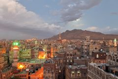 Old Sanaa at dusk Stock Photos