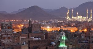 Old Sanaa at dusk Stock Images