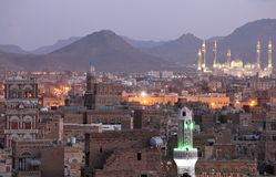 Old Sanaa view and Al Saleh Mosque, Yemen Royalty Free Stock Photography