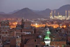 Old Sanaa view and Al Saleh Mosque, Yemen Stock Photography