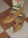 Old sandal of hide and stocking. Color pattern of old sandal of hide and stocking Stock Photo