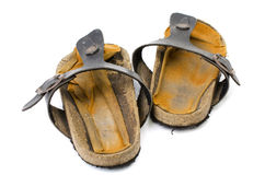 Old Sandals over white Stock Photography