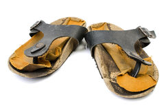 Old Sandals over white Royalty Free Stock Images
