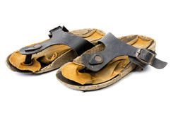 Old Sandals over white Stock Images