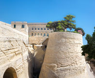 Old sandstone fortifications in Malta Royalty Free Stock Images