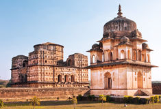 Old sandstone structures in indian Orchha Royalty Free Stock Photos