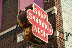 Old Sandwich Shop Sign Stock Image