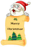 An old Santa holding a paper scroll with christmas greeting Stock Image