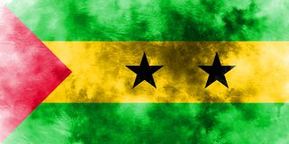 Old Sao Tome and Principe grunge background flag.  Royalty Free Stock Image