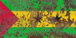 Old Sao Tome and Principe grunge background flag.  Stock Image