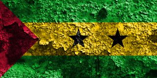 Old Sao Tome and Principe grunge background flag.  Stock Photos