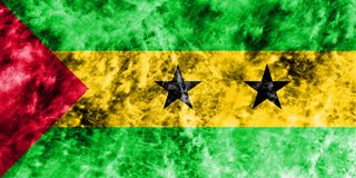 Old Sao Tome and Principe grunge background flag.  Royalty Free Stock Photos