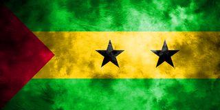 Old Sao Tome and Principe grunge background flag.  Royalty Free Stock Photography
