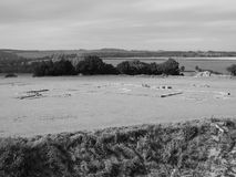 Old Sarum Cathedral ruins in Salisbury in black and white Royalty Free Stock Image