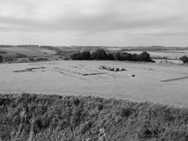 Old Sarum Cathedral ruins in Salisbury in black and white Royalty Free Stock Images
